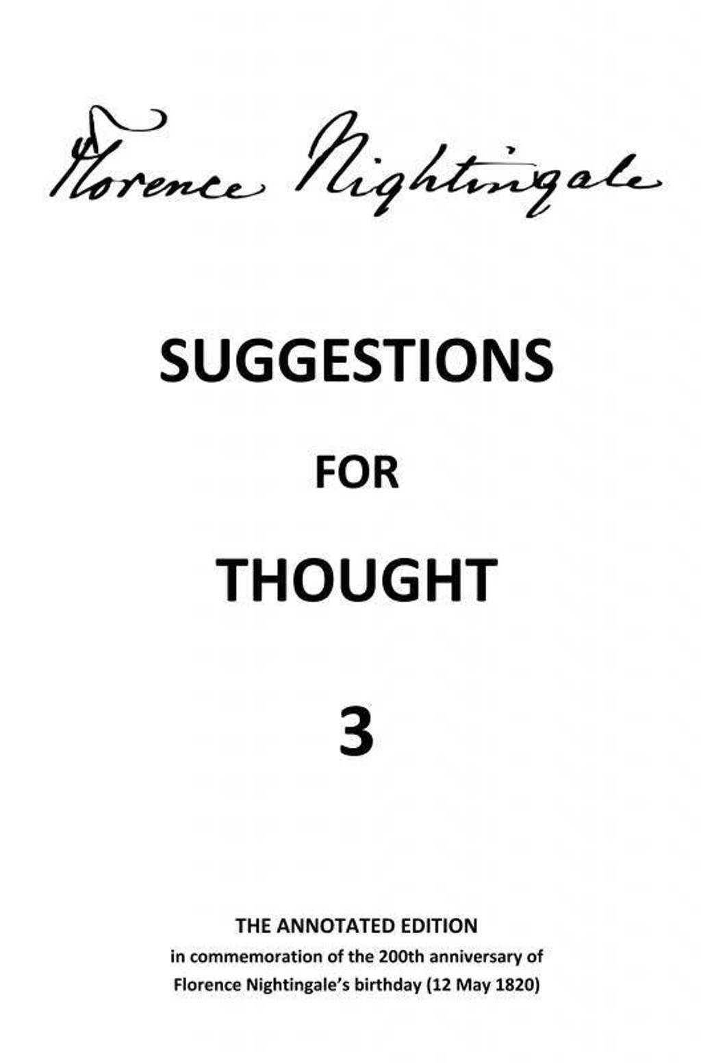 Suggestions for Thought 3 - Florence Nightingale