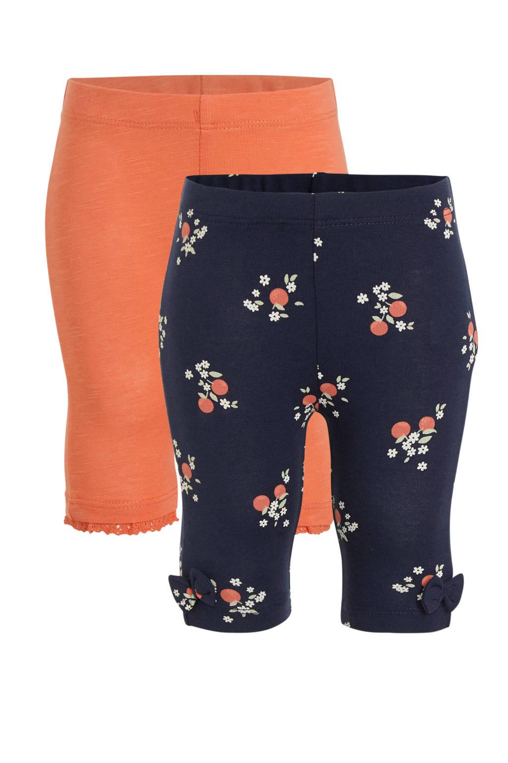 C&A Baby Club capri legging - set van 2 roze/donkerblauw, Donkerblauw