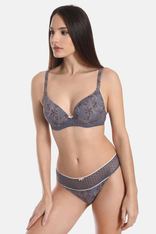 Sassa Mode gebloemde voorgevormde beugelbh Exclusive Autumn blauw, Blauw
