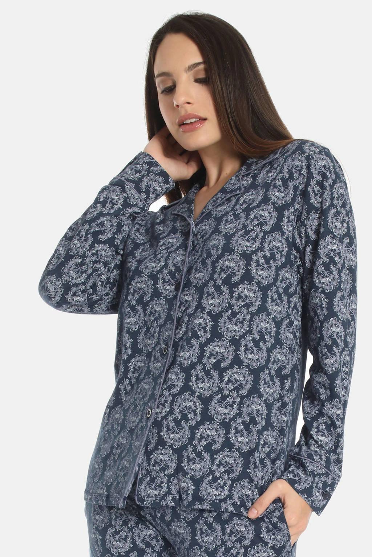 Sassa Mode pyjamatop Misty Garden met all over print donkerblauw, Donkerblauw