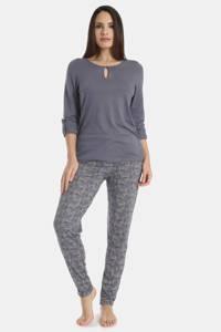 Sassa Mode pyjamabroek Exclusive Autumn met all over print blauw, Blauw