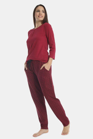 pyjamatop Flowery Aspect donkerrood