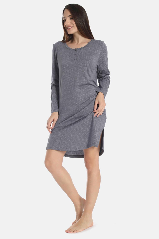 Sassa Mode naxchthemd Exclusive Autumn met all over print blauw, Blauw