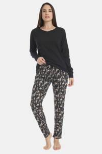 Sassa Mode gebloemde pyjamabroek Flowery Aspect zwart/wit, Zwart/wit