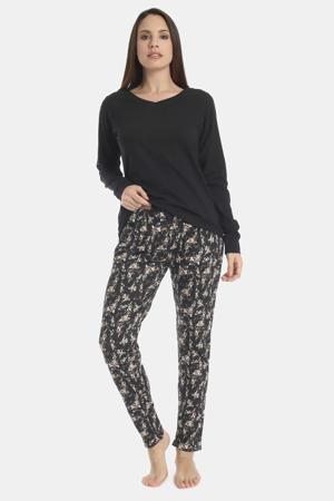 gebloemde pyjamabroek Flowery Aspect zwart/wit
