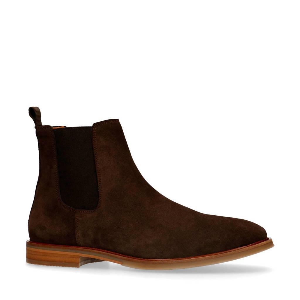 Sacha   suède chelsea boots donkerbruin, Donkerbruin