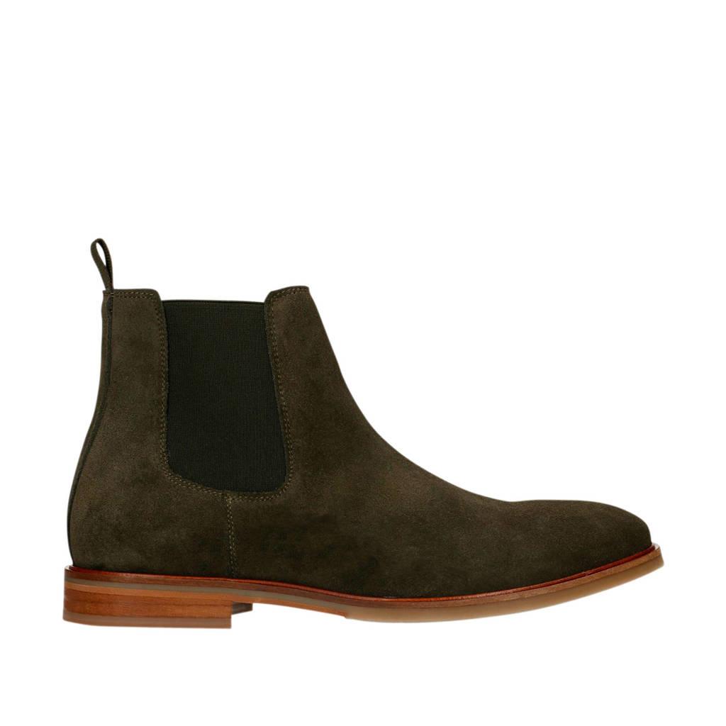 Sacha   suède chelsea boots donkergroen, Donkergroen