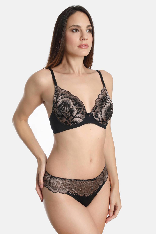 Sassa Mode voorgevormde beugelbh Elation met borduursel zwart, Zwart