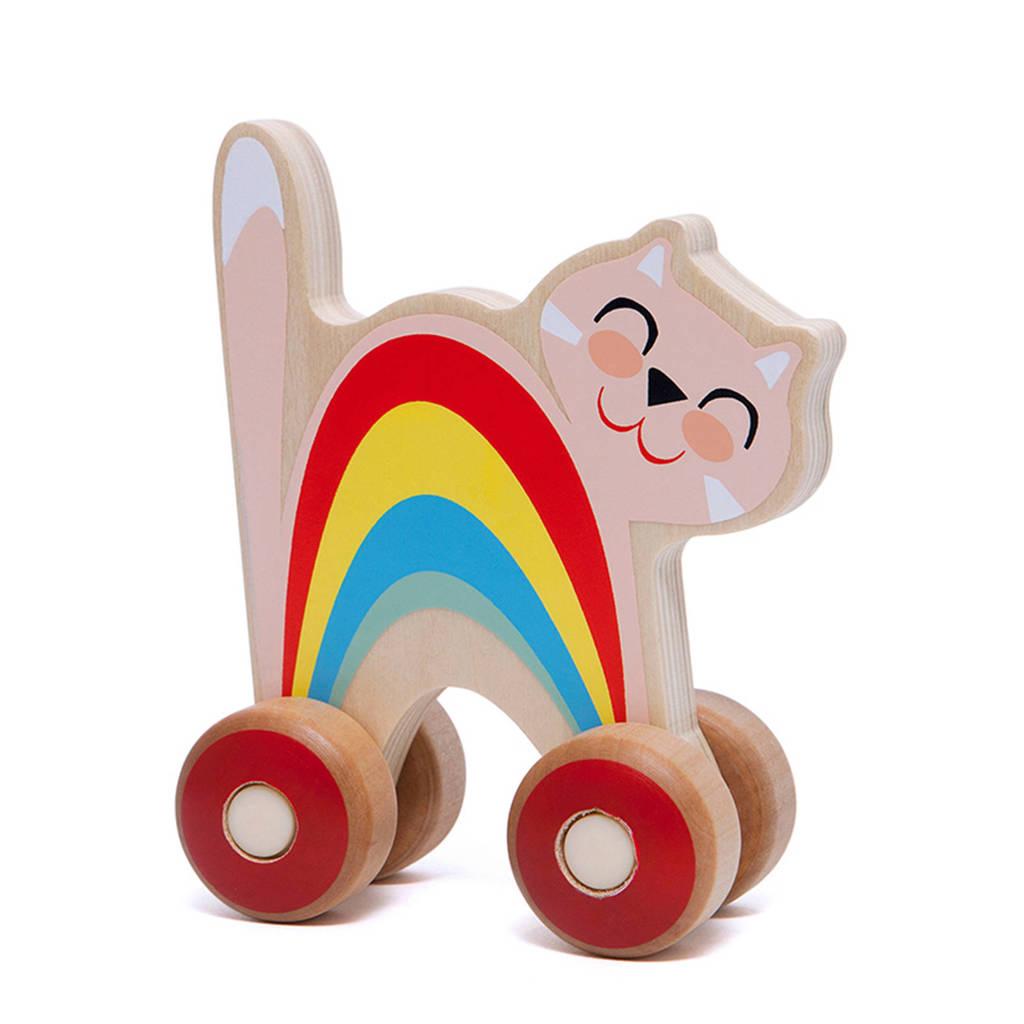 Petit Monkey houten Duwfiguur Kat, Roze
