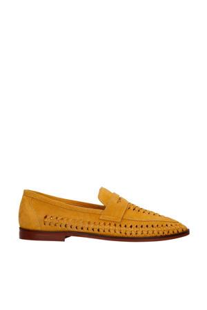 suède loafers okergeel