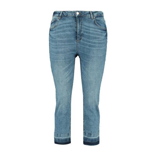 MS Mode cropped high waist slim fit jeans blauw