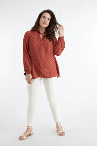 MS Mode top en ruches steen rood, Steen rood