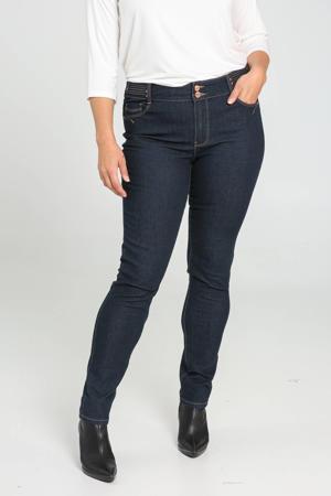 high waist slim fit broek met studs blauw