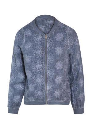 linnen jasje met all over print blauw