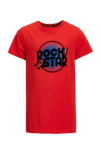 WE Fashion T-shirt Charita met printopdruk rood, Rood