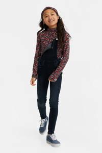 WE Fashion gebloemde longsleeve Alaia donkerblauw, Donkerblauw