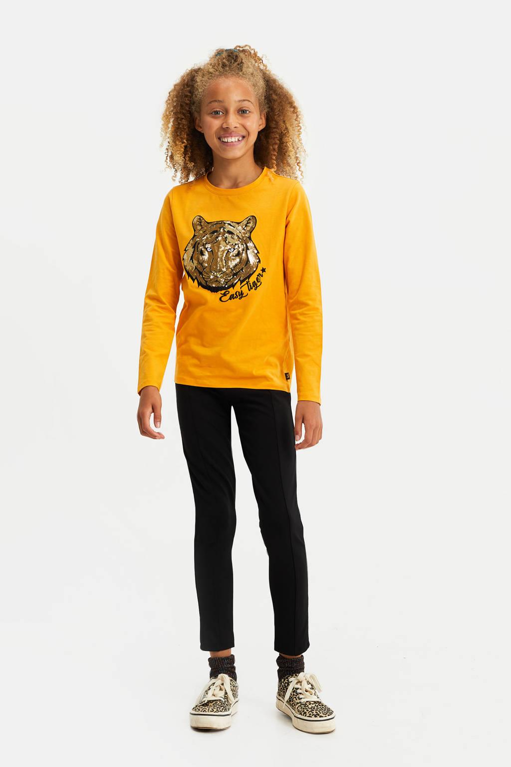 WE Fashion longsleeve met printopdruk en pailletten geel, Geel