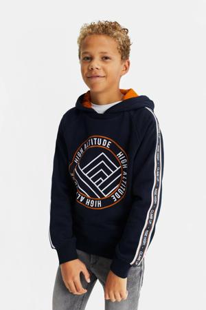 hoodie met contrastbies donkerblauw/oranje/wit