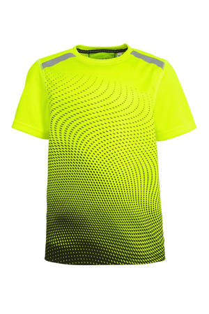 sport T-shirt neongeel/zwart