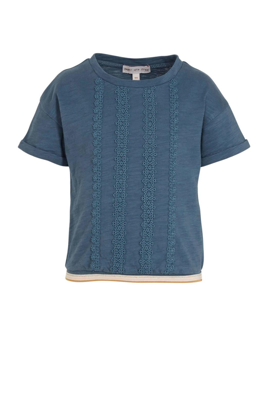 C&A gemêleerde top met contrastbies en kant blauw/ecru, Blauw/ecru