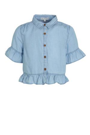 blouse en ruches lichtblauw
