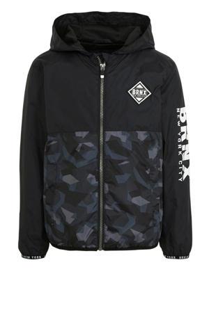 zomerjas met camouflageprint zwart/grijs