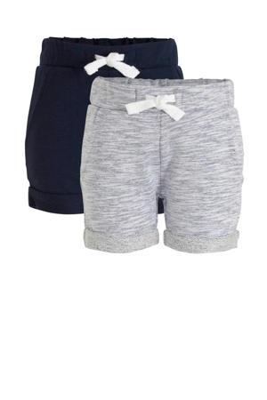 korte broek - set van 2 donkerblauw/blauw melange
