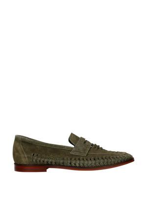 suède loafers groen