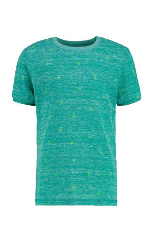 T-shirt Yerick met all over print zeegroen/limegroen