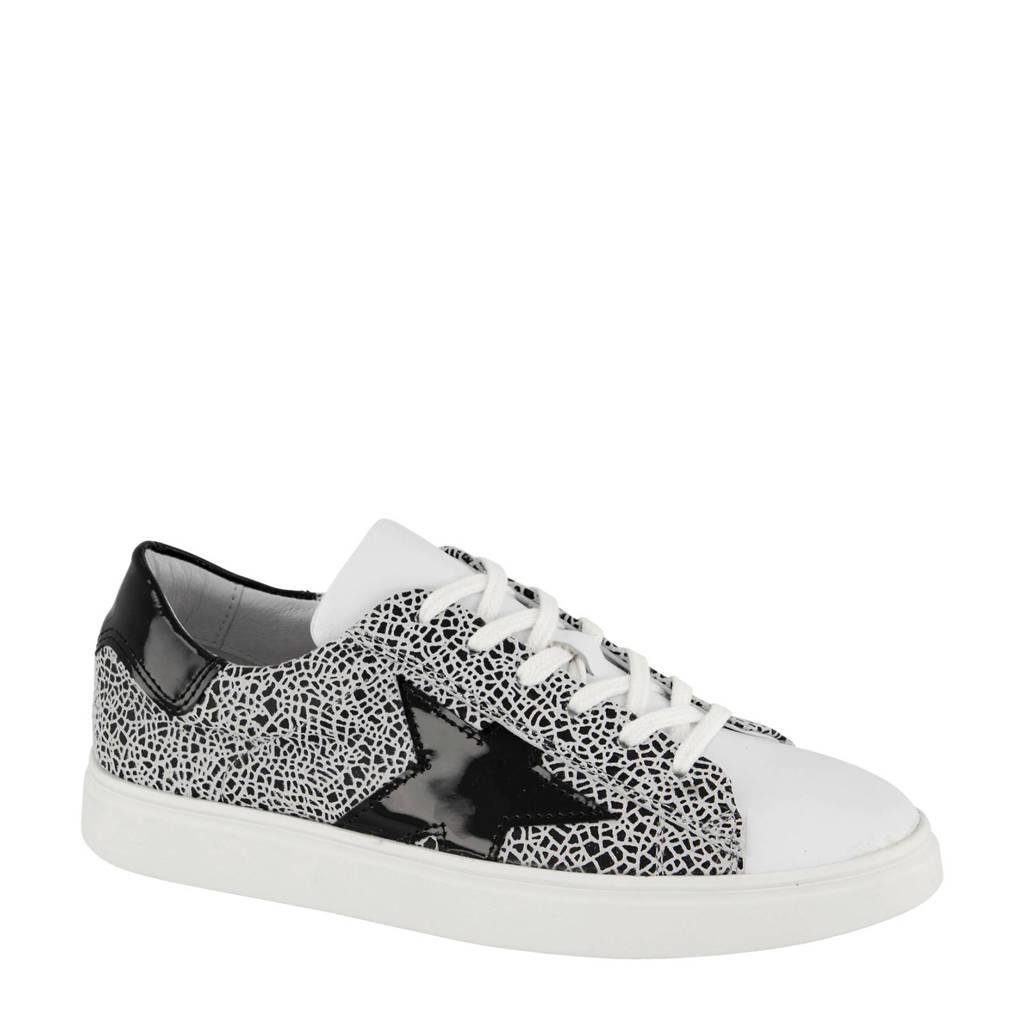 5th Avenue   leren sneakers zwart/wit, Wit/zwart