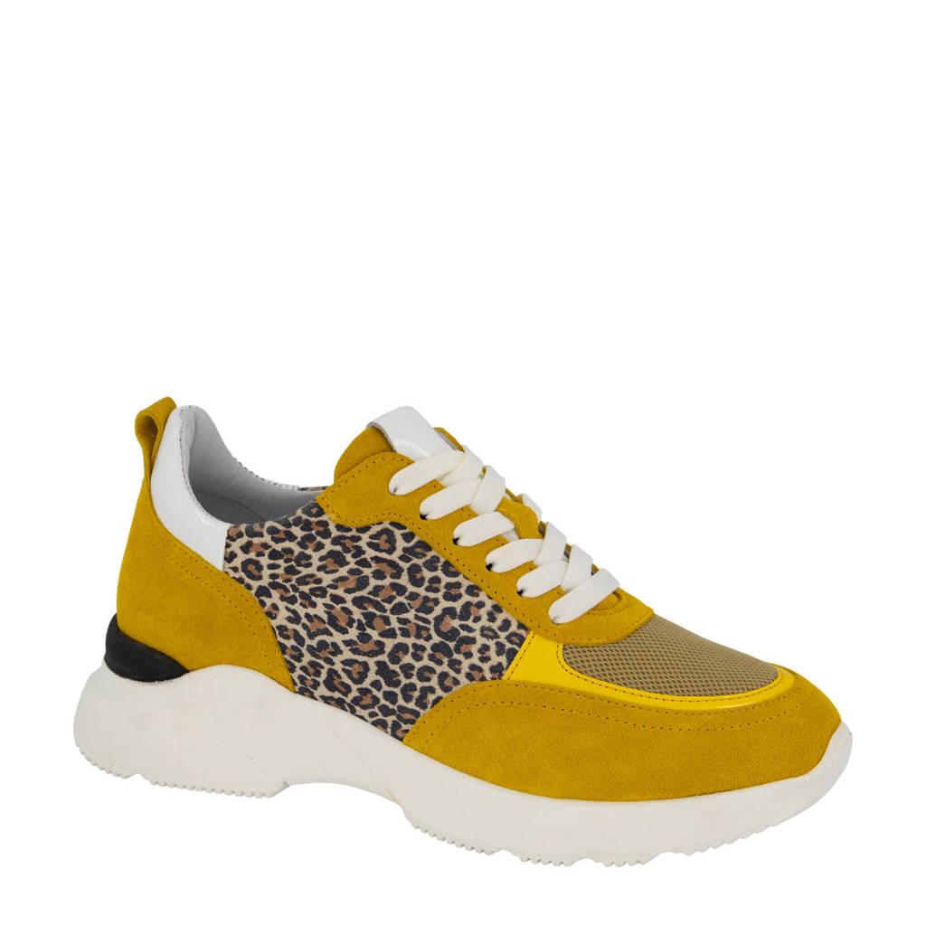5th Avenue   suède chunky sneakers okergeel/panterprint, Okergeel/multi