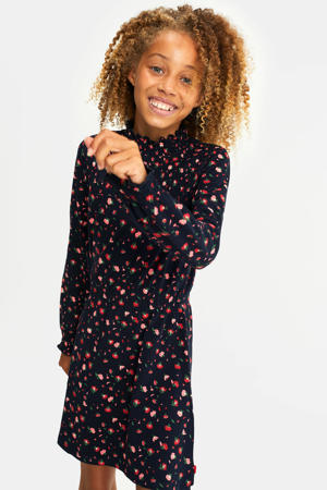 A-lijn jurk met all over print donkerblauw/rood
