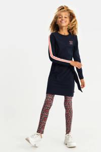 WE Fashion jurk met contrastbies en ceintuur donkerblauw/roze, Donkerblauw/roze