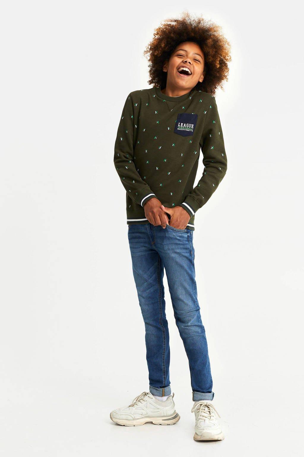 WE Fashion sweater met all over print donkergroen, Donkergroen