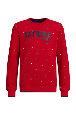 sweater met all over print rood