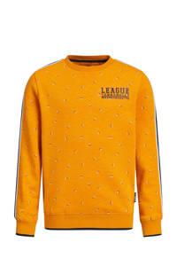 WE Fashion sweater met contrastbies oranje, Oranje