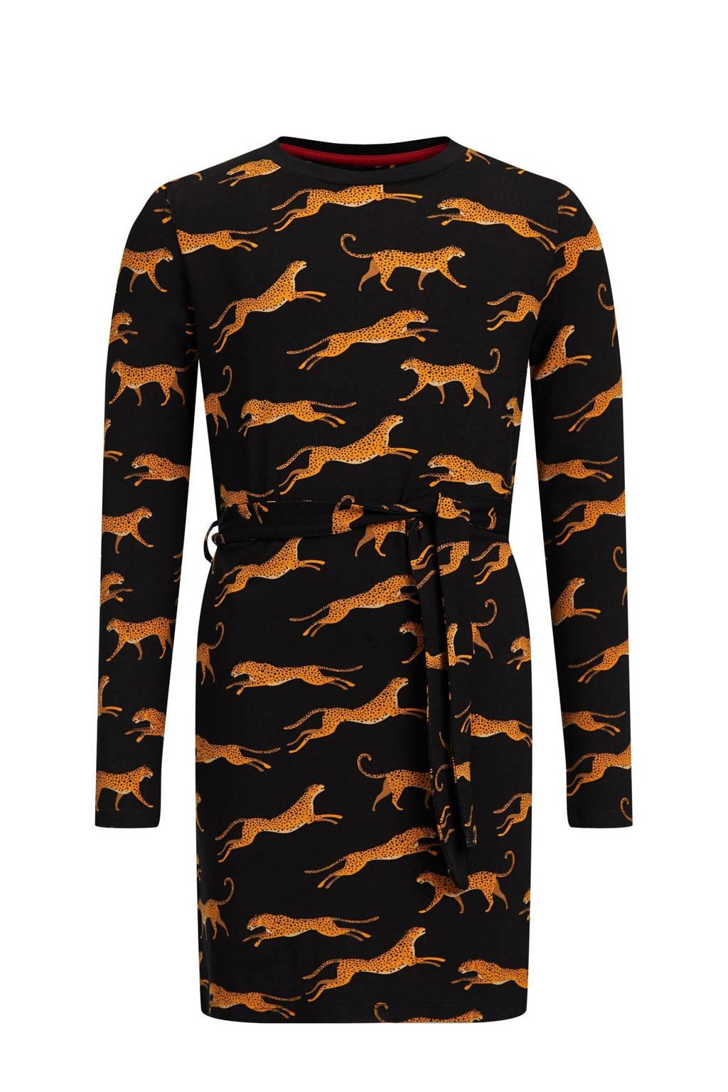 WE Fashion sweatjurk met dierenprint zwart, Zwart