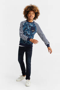 WE Fashion sweater met all over print donkerblauw/wit, Donkerblauw/wit