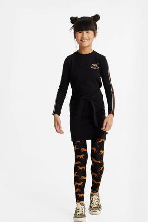 legging met dierenprint zwart