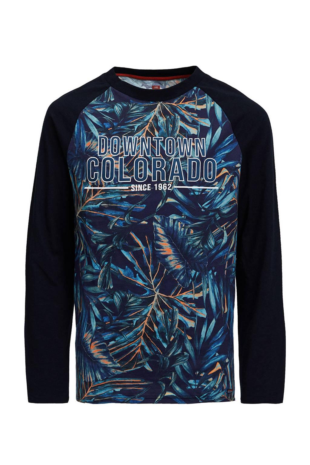 WE Fashion longsleeve met all over print donkerblauw/groen, Multi