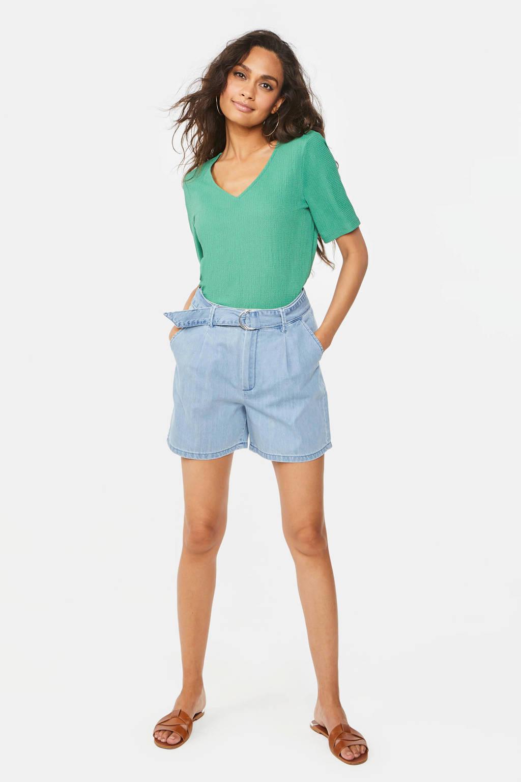 WE Fashion top met textuur groen, Groen