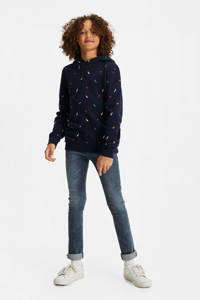 WE Fashion hoodie met all over print donkerblauw, Donkerblauw