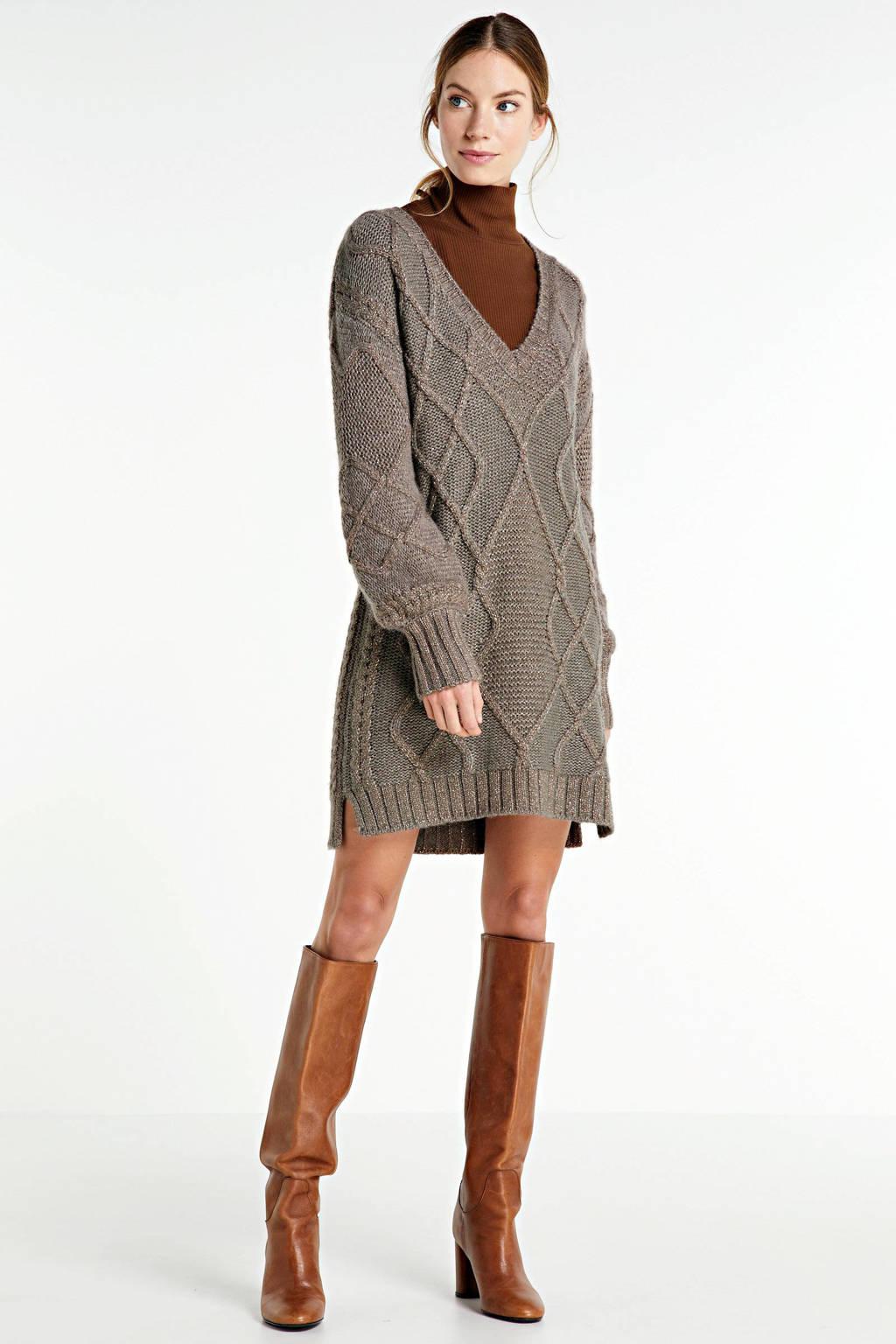 JOSH V gebreide jurk RONIE met wol bruin, Bruin