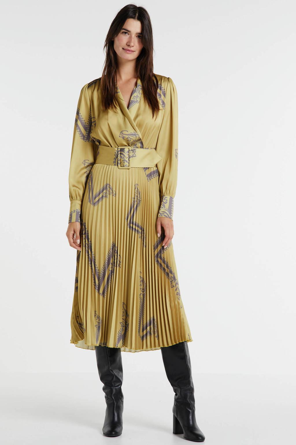 JOSH V maxi jurk Reneta met all over print en ceintuur okergeel/taupe, Okergeel/taupe