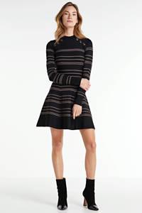 JOSH V gestreepte jurk KARA zwart, Zwart