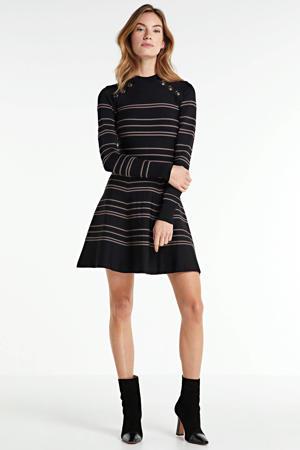 gestreepte jurk KARA zwart