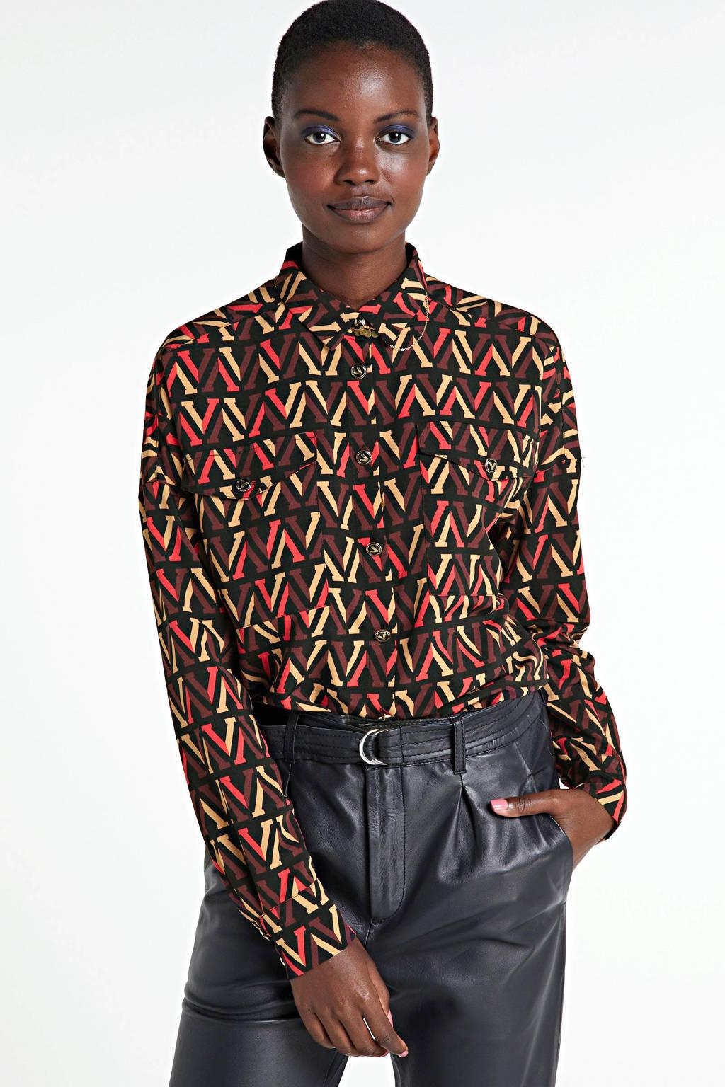 JOSH V blouse Cambree met all over print zwart, Zwart