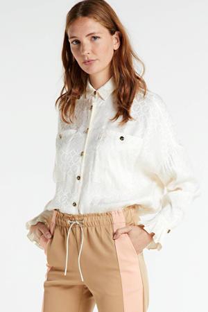 blouse Cornalie met logo en ruches wit