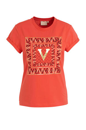 T-shirt Dora Square V met printopdruk rood