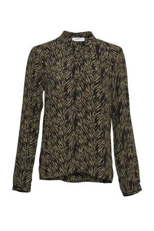 blouse Calie Morocco met zebraprint groen